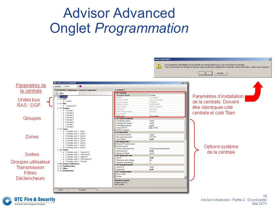 18 Advisor Advanced – Partie 2 - Downloader Mai 2011 Advisor Advanced Onglet Programmation Paramètres de la centrale Paramètres dinstallation de la centrale.