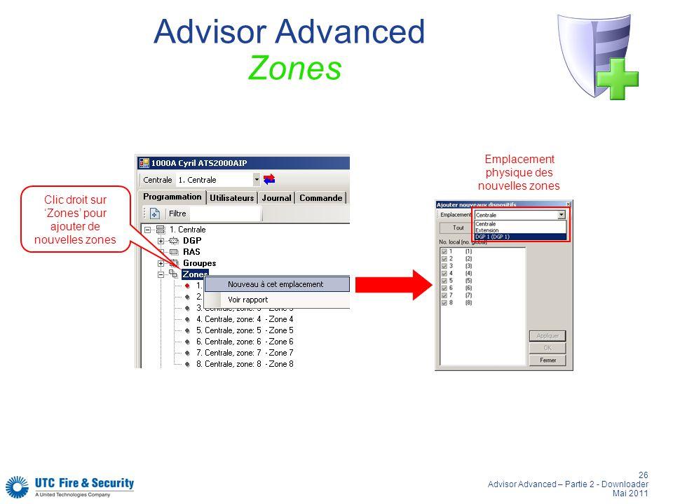 26 Advisor Advanced – Partie 2 - Downloader Mai 2011 Advisor Advanced Zones Clic droit sur Zones pour ajouter de nouvelles zones Emplacement physique