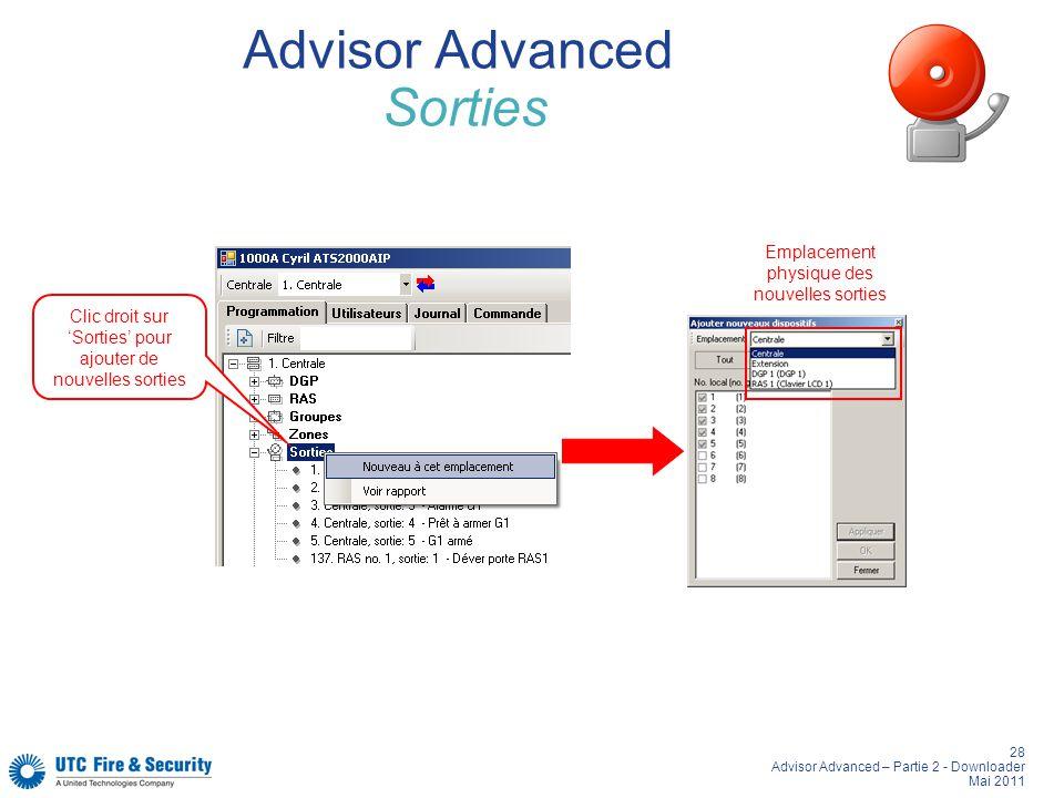 28 Advisor Advanced – Partie 2 - Downloader Mai 2011 Advisor Advanced Sorties Clic droit sur Sorties pour ajouter de nouvelles sorties Emplacement physique des nouvelles sorties