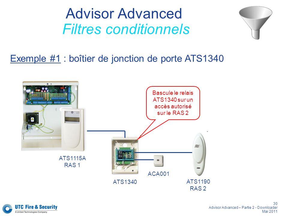 30 Advisor Advanced – Partie 2 - Downloader Mai 2011 Advisor Advanced Filtres conditionnels ATS1340 ATS1190 RAS 2 ATS1115A RAS 1 Bascule le relais ATS1340 sur un accès autorisé sur le RAS 2 ACA001 Exemple #1 : boîtier de jonction de porte ATS1340