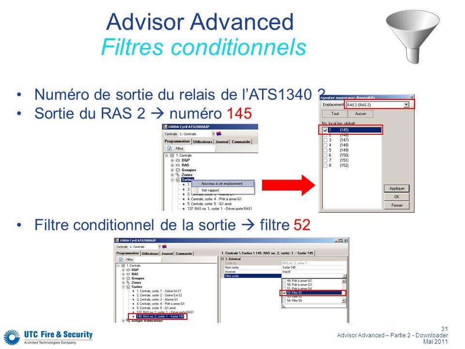 31 Advisor Advanced – Partie 2 - Downloader Mai 2011 Advisor Advanced Filtres conditionnels Numéro de sortie du relais de lATS1340 ? Sortie du RAS 2 n