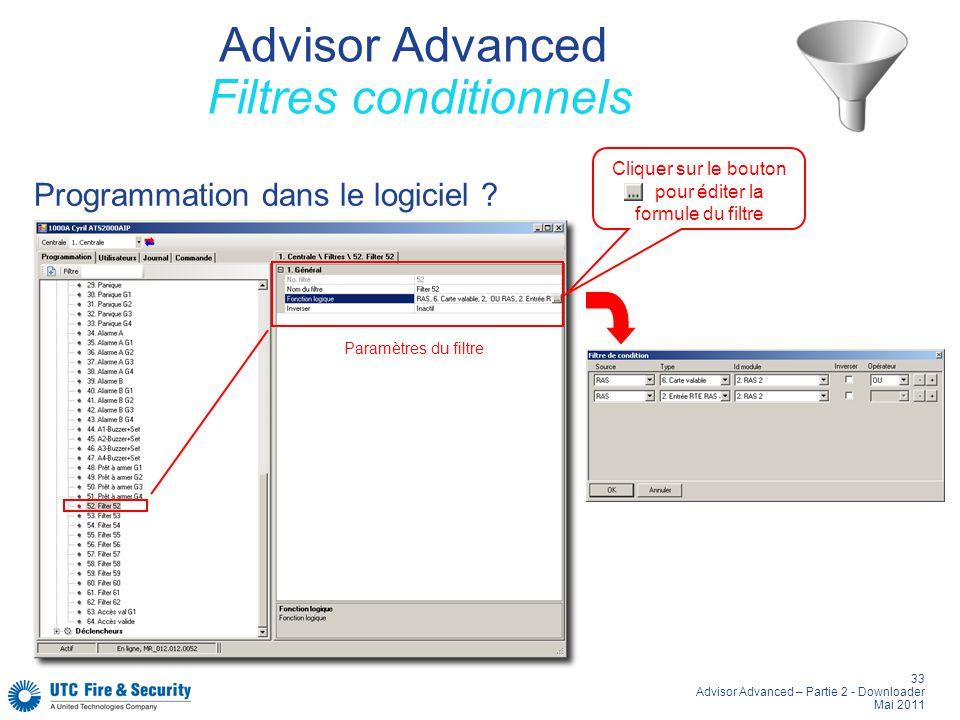33 Advisor Advanced – Partie 2 - Downloader Mai 2011 Advisor Advanced Filtres conditionnels Programmation dans le logiciel ? Paramètres du filtre Cliq