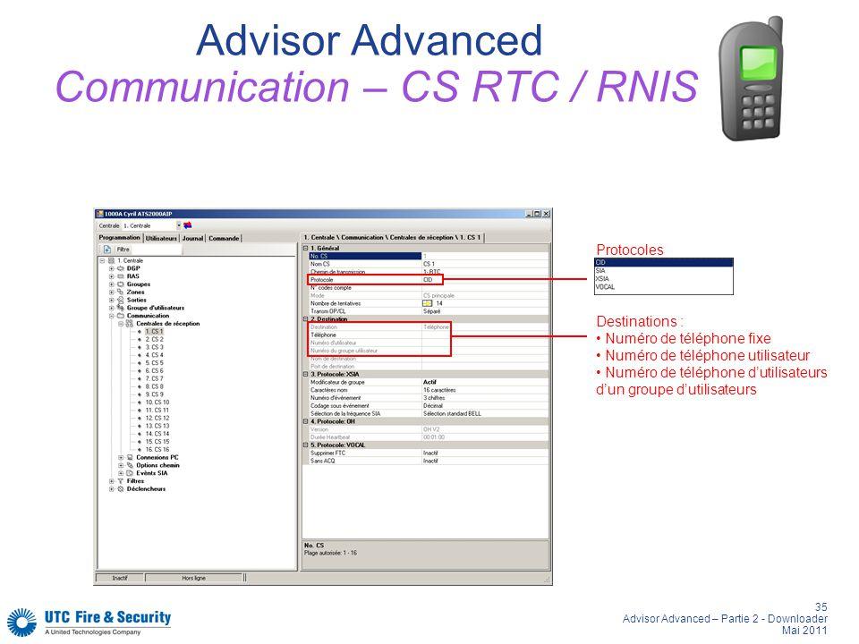 35 Advisor Advanced – Partie 2 - Downloader Mai 2011 Advisor Advanced Communication – CS RTC / RNIS Protocoles Destinations : Numéro de téléphone fixe Numéro de téléphone utilisateur Numéro de téléphone dutilisateurs dun groupe dutilisateurs