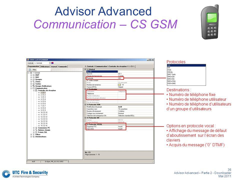 36 Advisor Advanced – Partie 2 - Downloader Mai 2011 Advisor Advanced Communication – CS GSM Destinations : Numéro de téléphone fixe Numéro de télépho