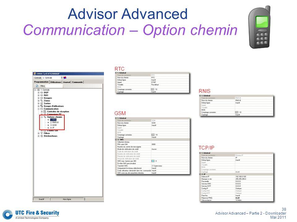 38 Advisor Advanced – Partie 2 - Downloader Mai 2011 Advisor Advanced Communication – Option chemin RNIS RTC GSM TCP/IP