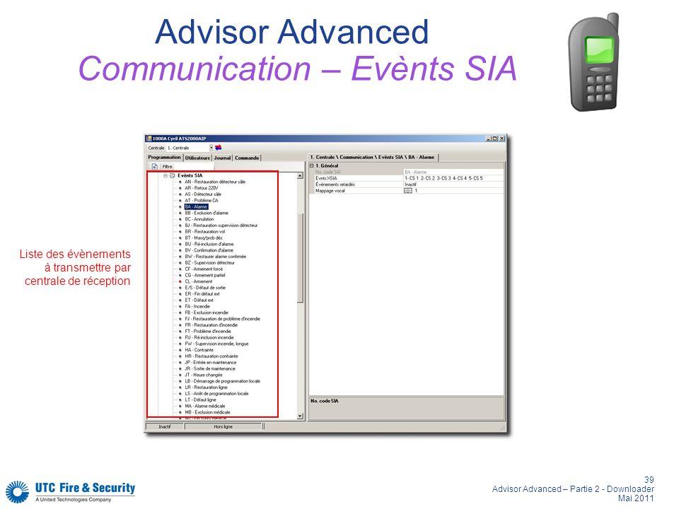 39 Advisor Advanced – Partie 2 - Downloader Mai 2011 Advisor Advanced Communication – Evènts SIA Liste des évènements à transmettre par centrale de ré