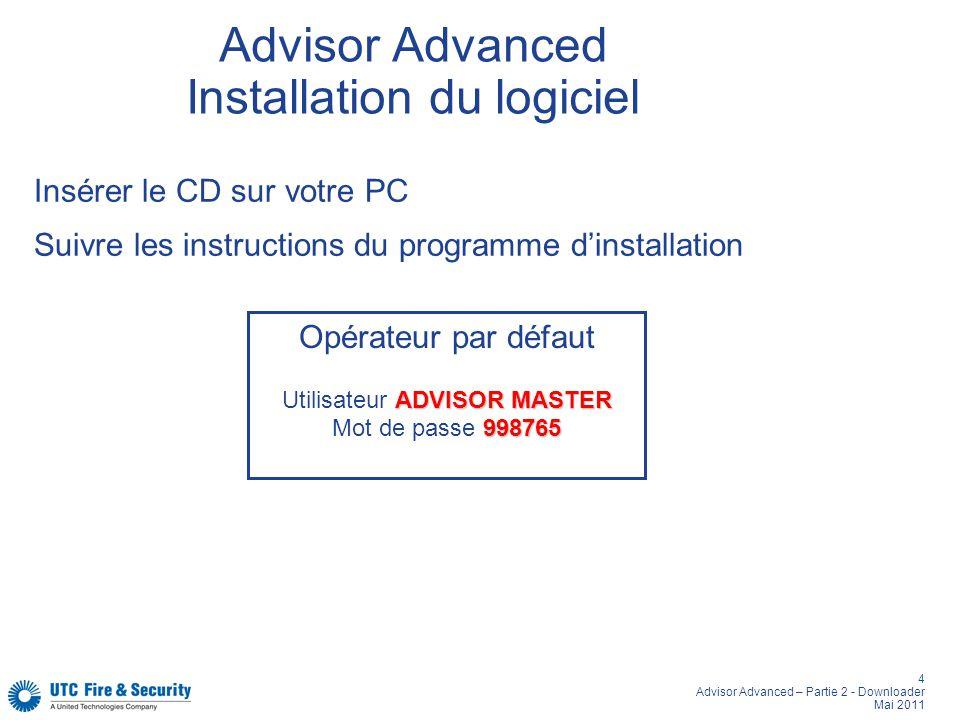 4 Advisor Advanced – Partie 2 - Downloader Mai 2011 Advisor Advanced Installation du logiciel Opérateur par défaut ADVISOR MASTER Utilisateur ADVISOR