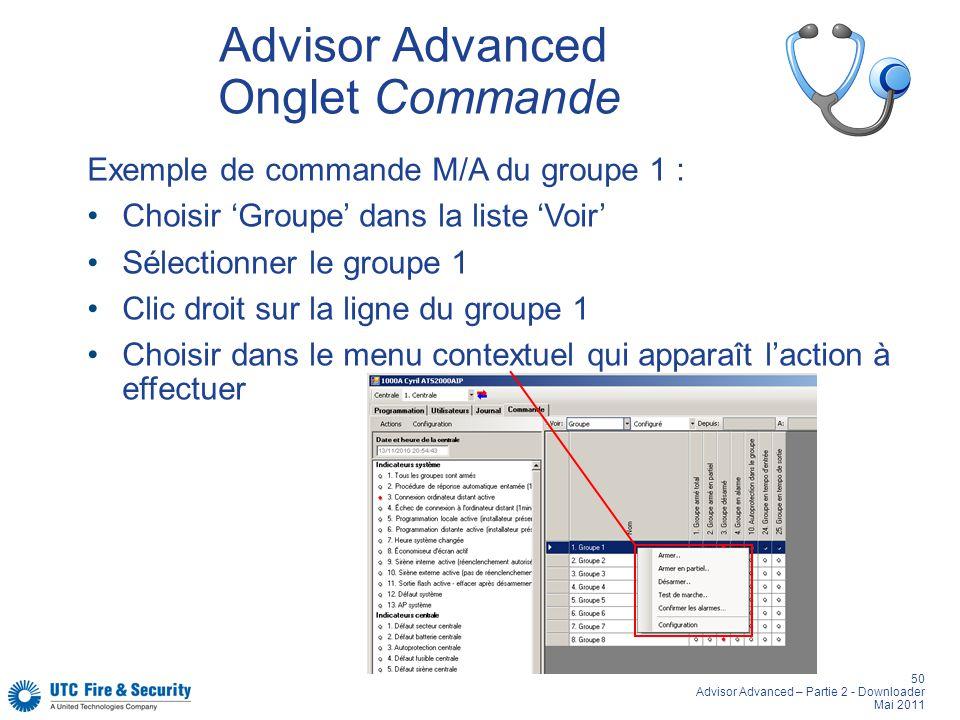 50 Advisor Advanced – Partie 2 - Downloader Mai 2011 Advisor Advanced Onglet Commande Exemple de commande M/A du groupe 1 : Choisir Groupe dans la liste Voir Sélectionner le groupe 1 Clic droit sur la ligne du groupe 1 Choisir dans le menu contextuel qui apparaît laction à effectuer