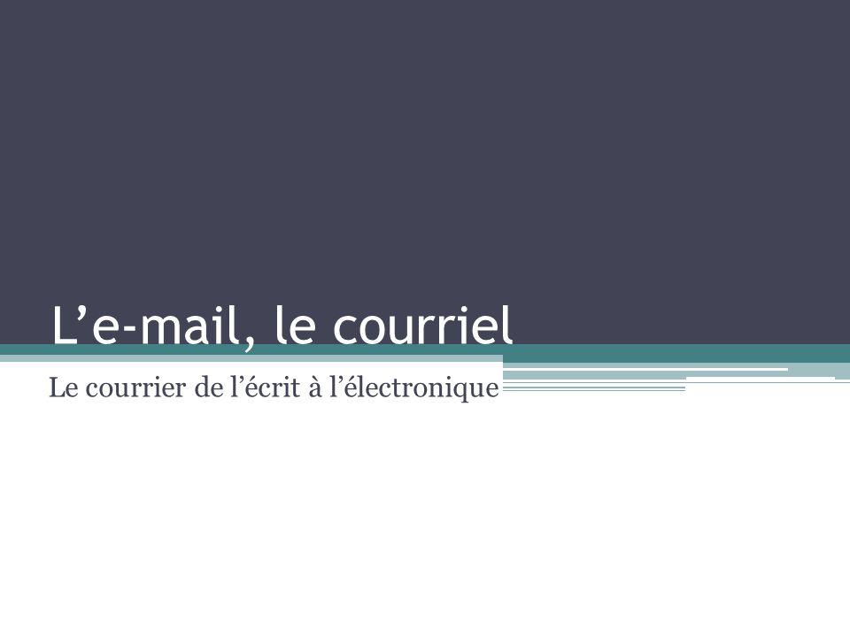 Le-mail, le courriel Le courrier de lécrit à lélectronique