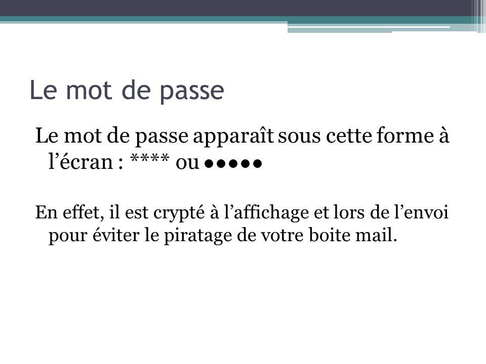 Le mot de passe Le mot de passe apparaît sous cette forme à lécran : **** ou En effet, il est crypté à laffichage et lors de lenvoi pour éviter le pir