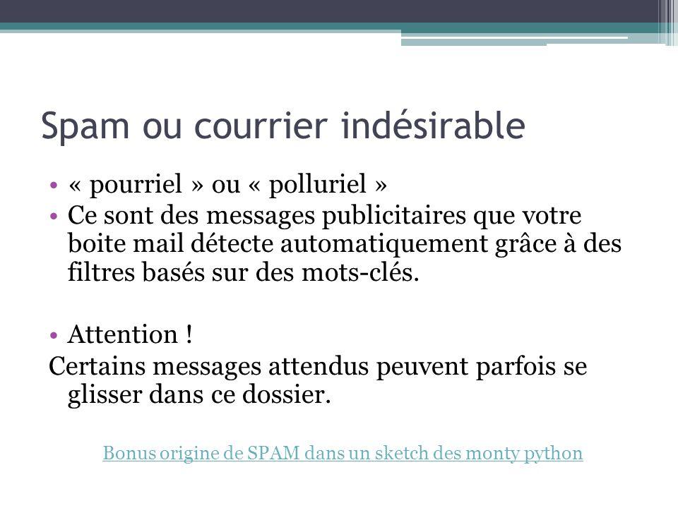 Spam ou courrier indésirable « pourriel » ou « polluriel » Ce sont des messages publicitaires que votre boite mail détecte automatiquement grâce à des