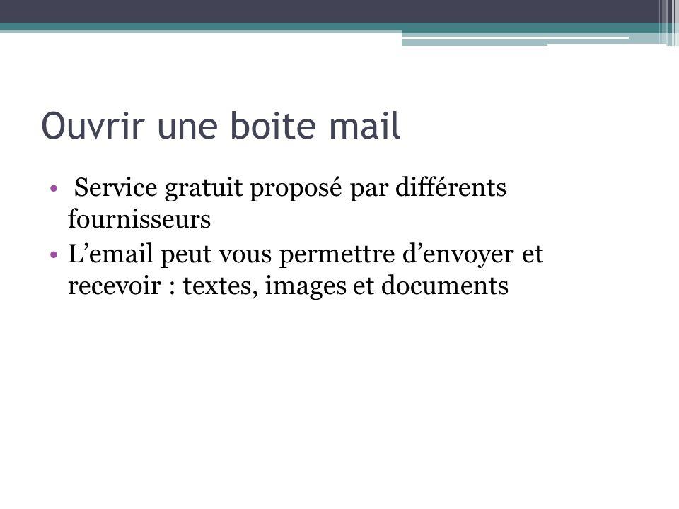 Ouvrir une boite mail Service gratuit proposé par différents fournisseurs Lemail peut vous permettre denvoyer et recevoir : textes, images et document