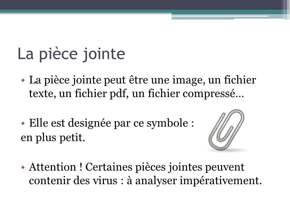 La pièce jointe La pièce jointe peut être une image, un fichier texte, un fichier pdf, un fichier compressé… Elle est designée par ce symbole : en plu