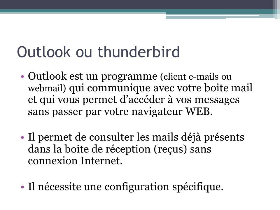 Outlook ou thunderbird Outlook est un programme (client e-mails ou webmail) qui communique avec votre boite mail et qui vous permet daccéder à vos mes