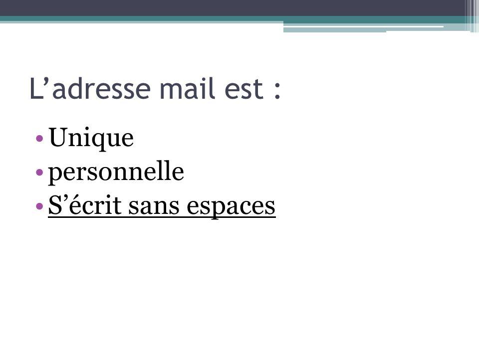 Les différents dossiers Boite de réception Messages envoyés Brouillons Spam ou indésirables Corbeille Il est également posible de créer des dossiers pour son archivage personnel.
