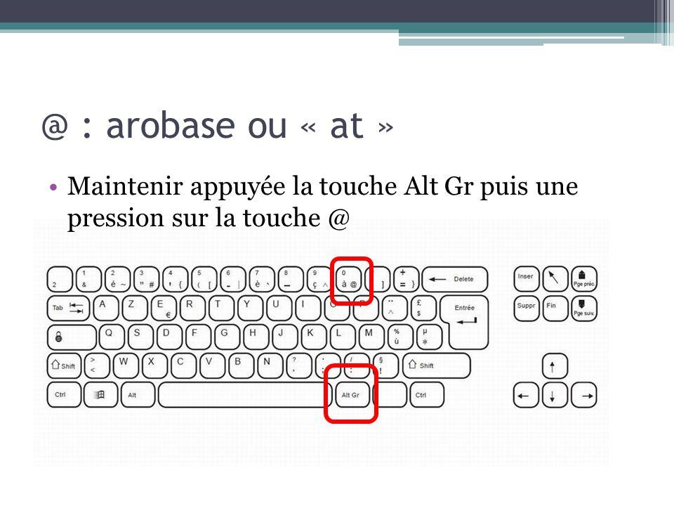 @ : arobase ou « at » Maintenir appuyée la touche Alt Gr puis une pression sur la touche @