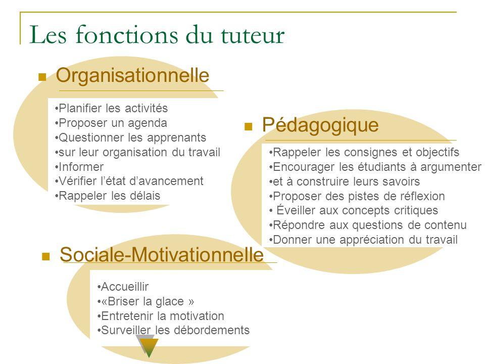 Les fonctions du tuteur Organisationnelle Planifier les activités Proposer un agenda Questionner les apprenants sur leur organisation du travail Infor
