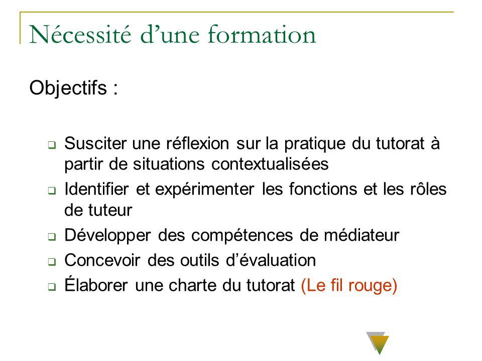 Nécessité dune formation Objectifs : Susciter une réflexion sur la pratique du tutorat à partir de situations contextualisées Identifier et expériment
