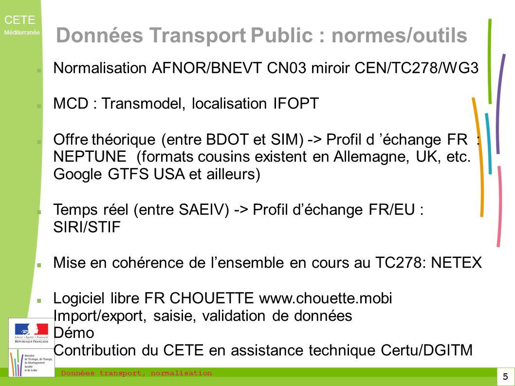 Données transport, normalisation CETE Méditerranée 5 Données Transport Public : normes/outils Normalisation AFNOR/BNEVT CN03 miroir CEN/TC278/WG3 MCD