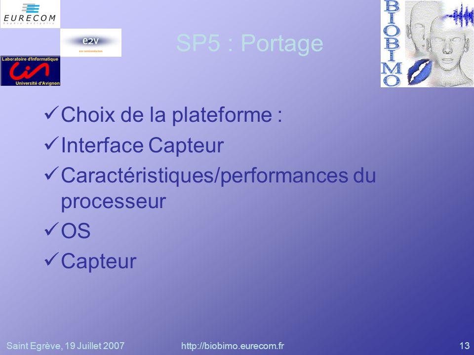Saint Egrève, 19 Juillet 2007http://biobimo.eurecom.fr13 SP5 : Portage Choix de la plateforme : Interface Capteur Caractéristiques/performances du pro