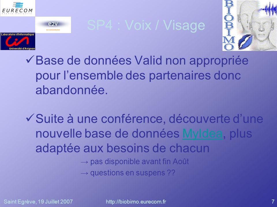 Saint Egrève, 19 Juillet 2007http://biobimo.eurecom.fr7 SP4 : Voix / Visage Base de données Valid non appropriée pour lensemble des partenaires donc a