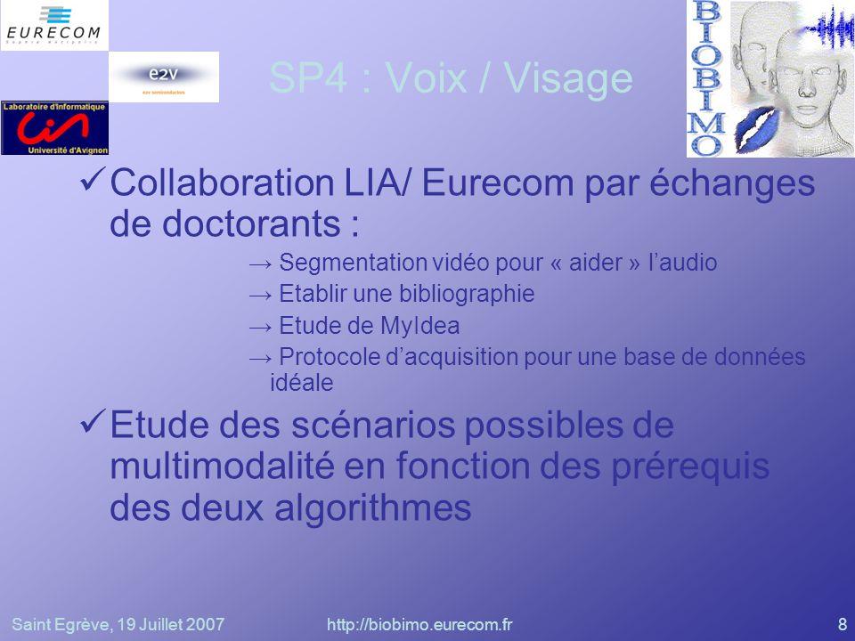 Saint Egrève, 19 Juillet 2007http://biobimo.eurecom.fr8 SP4 : Voix / Visage Collaboration LIA/ Eurecom par échanges de doctorants : Segmentation vidéo
