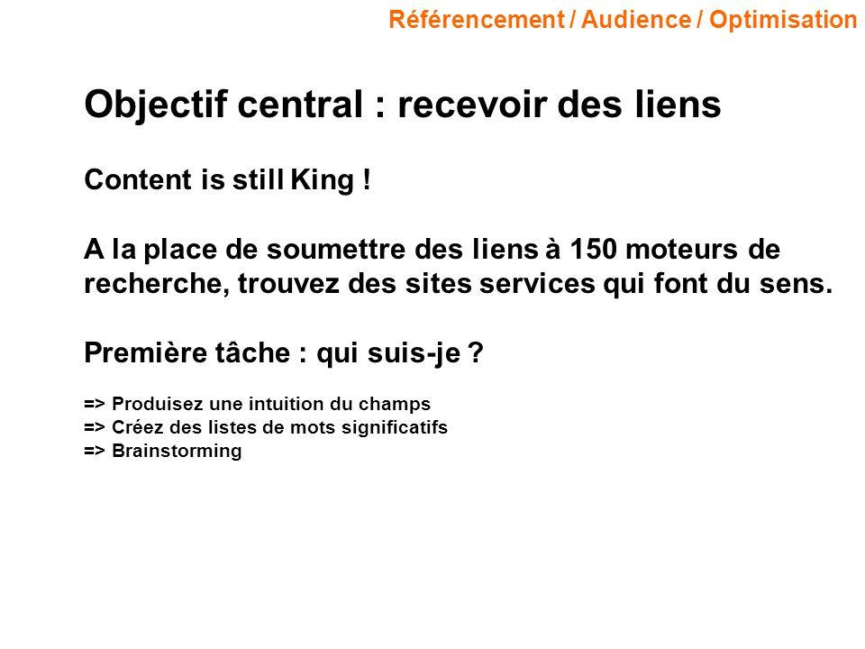 Référencement / Audience / Optimisation Objectif central : recevoir des liens Content is still King ! A la place de soumettre des liens à 150 moteurs
