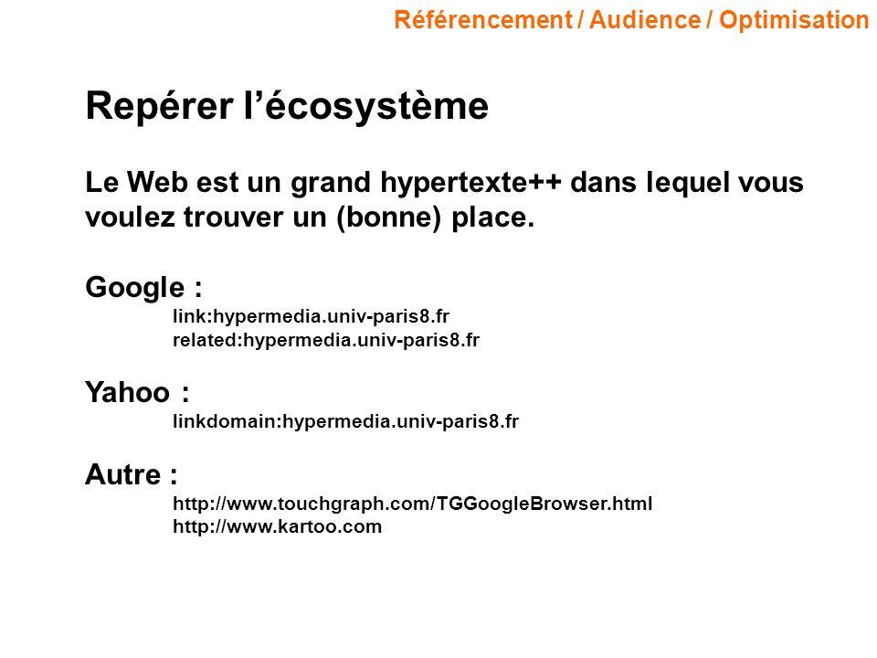 Référencement / Audience / Optimisation Repérer lécosystème Le Web est un grand hypertexte++ dans lequel vous voulez trouver un (bonne) place.