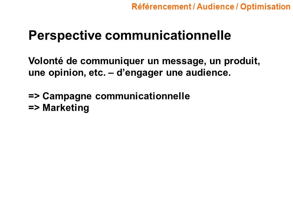 Référencement / Audience / Optimisation Perspective communicationnelle Volonté de communiquer un message, un produit, une opinion, etc. – dengager une