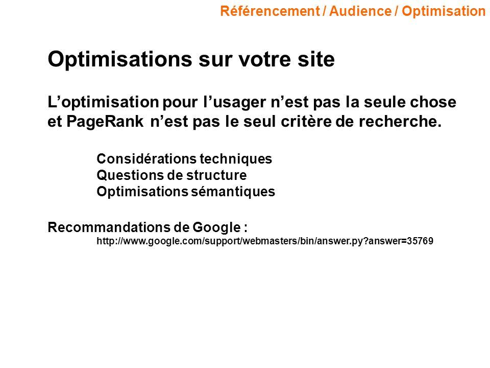 Référencement / Audience / Optimisation Optimisations sur votre site Loptimisation pour lusager nest pas la seule chose et PageRank nest pas le seul critère de recherche.