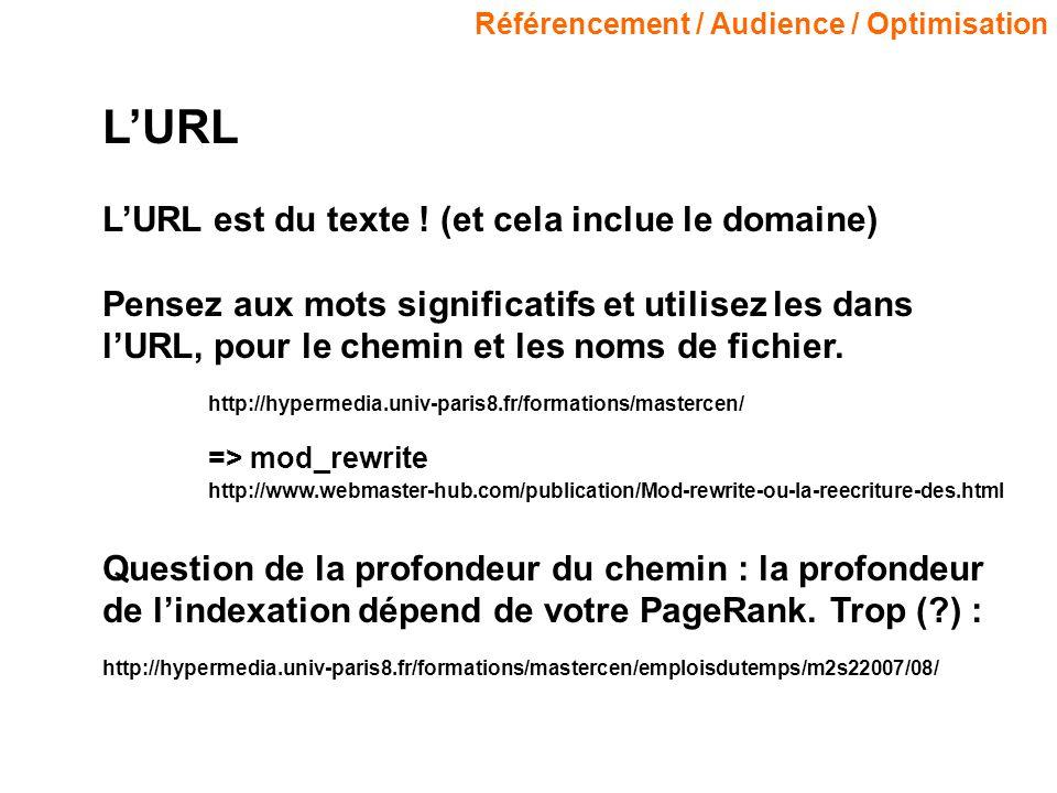 Référencement / Audience / Optimisation LURL LURL est du texte ! (et cela inclue le domaine) Pensez aux mots significatifs et utilisez les dans lURL,