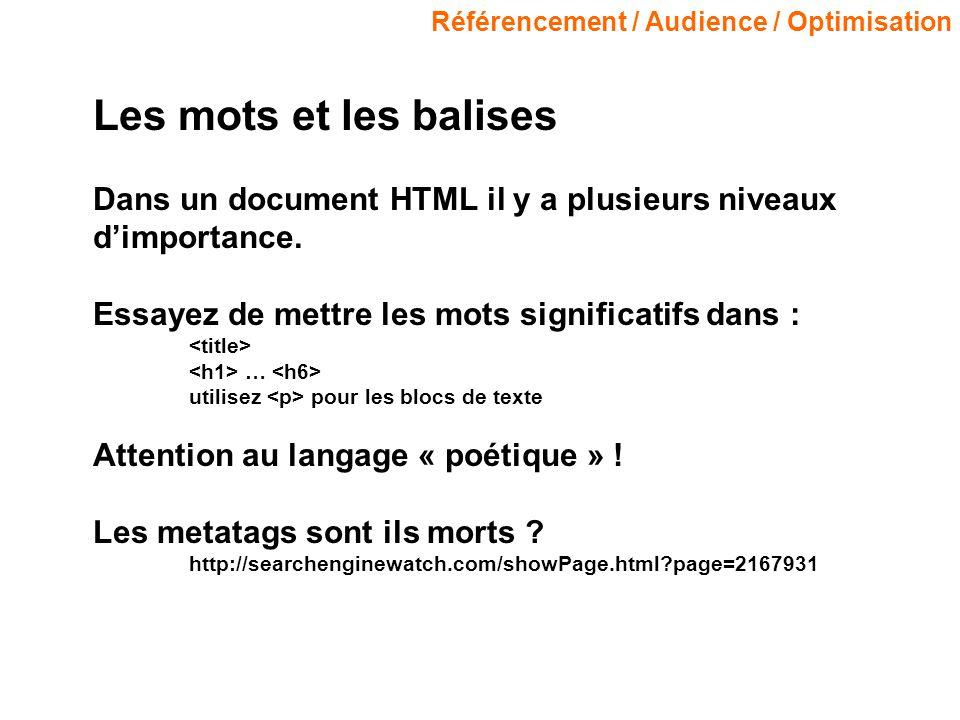 Référencement / Audience / Optimisation Les mots et les balises Dans un document HTML il y a plusieurs niveaux dimportance. Essayez de mettre les mots