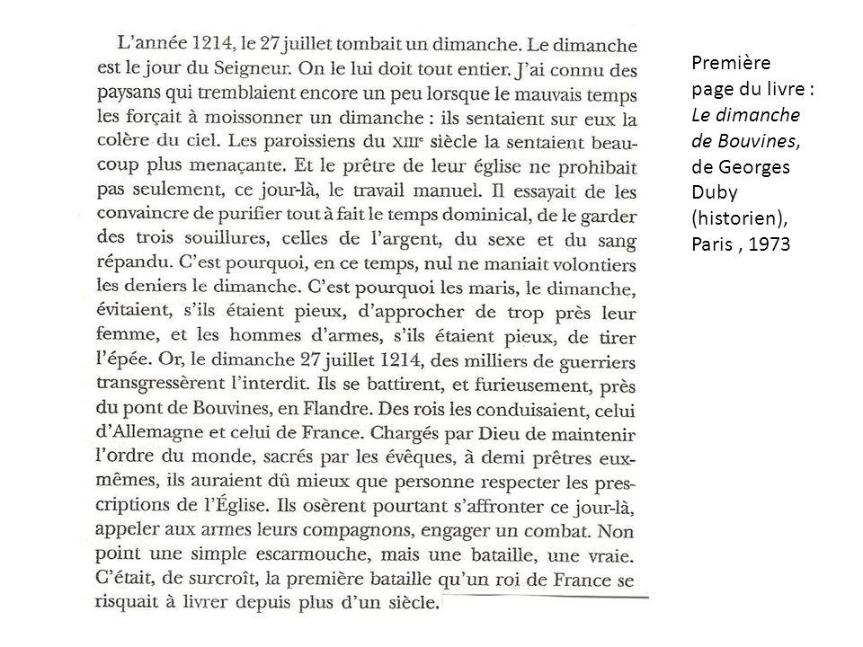 Première page du livre : Le dimanche de Bouvines, de Georges Duby (historien), Paris, 1973