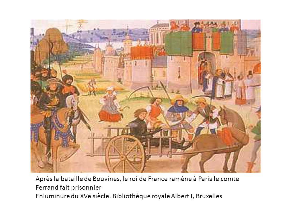 Après la bataille de Bouvines, le roi de France ramène à Paris le comte Ferrand fait prisonnier Enluminure du XVe siècle. Bibliothèque royale Albert I