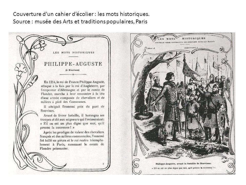 Couverture dun cahier décolier : les mots historiques. Source : musée des Arts et traditions populaires, Paris
