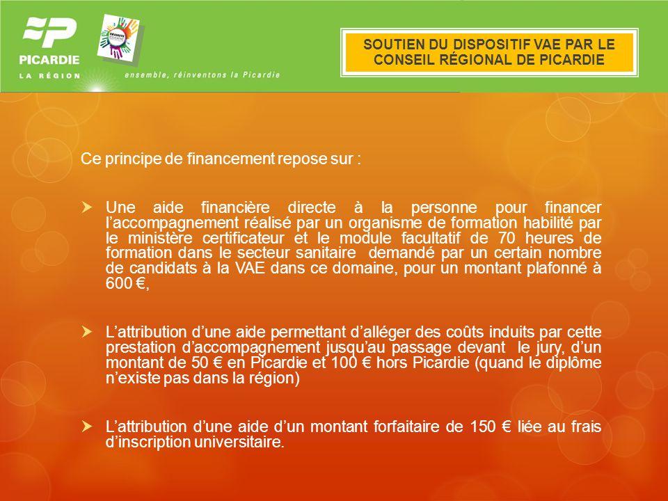 Le dispositif VAE en Picardie Ce principe de financement repose sur : Une aide financière directe à la personne pour financer laccompagnement réalisé