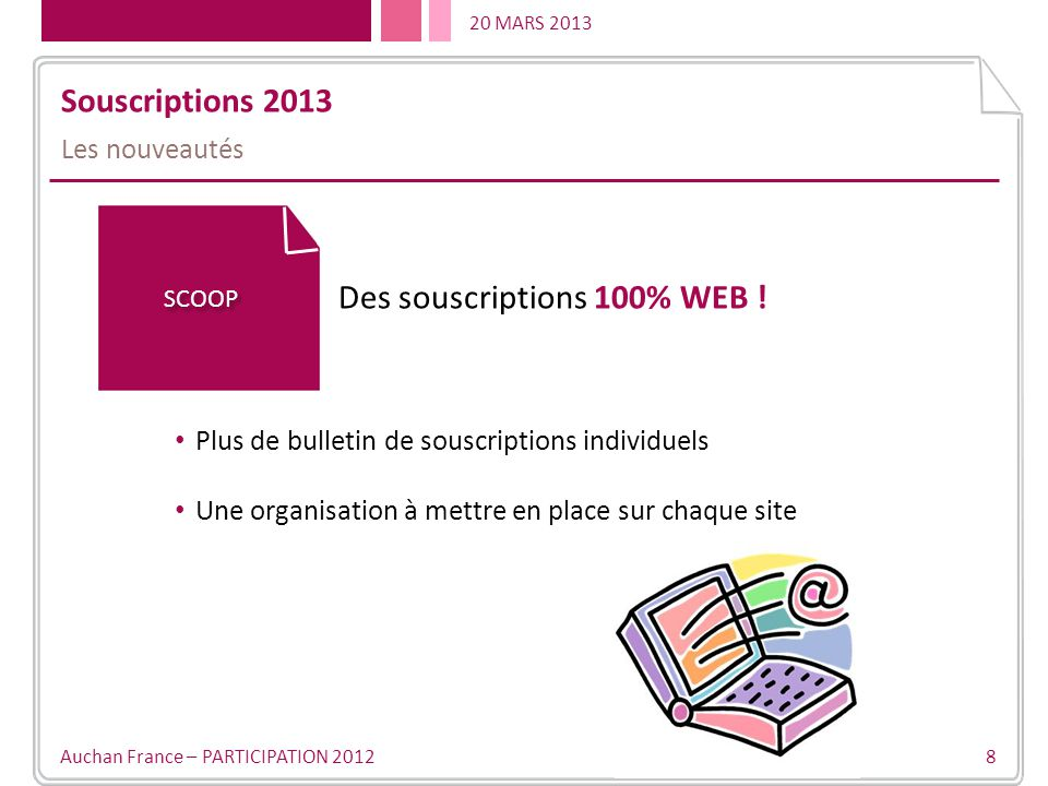 20 MARS 2013 Auchan France – PARTICIPATION 2012 8 Souscriptions 2013 Les nouveautés SCOOP Des souscriptions 100% WEB .
