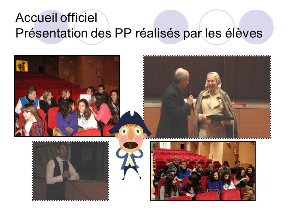 Accueil officiel Présentation des PP réalisés par les élèves
