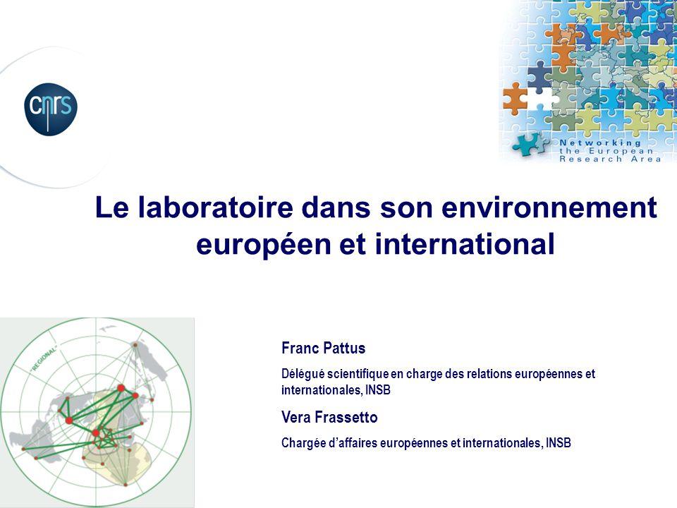 Le laboratoire dans son environnement européen et international Vera Frassetto Chargée daffaires européennes et internationales, INSB Franc Pattus Dél