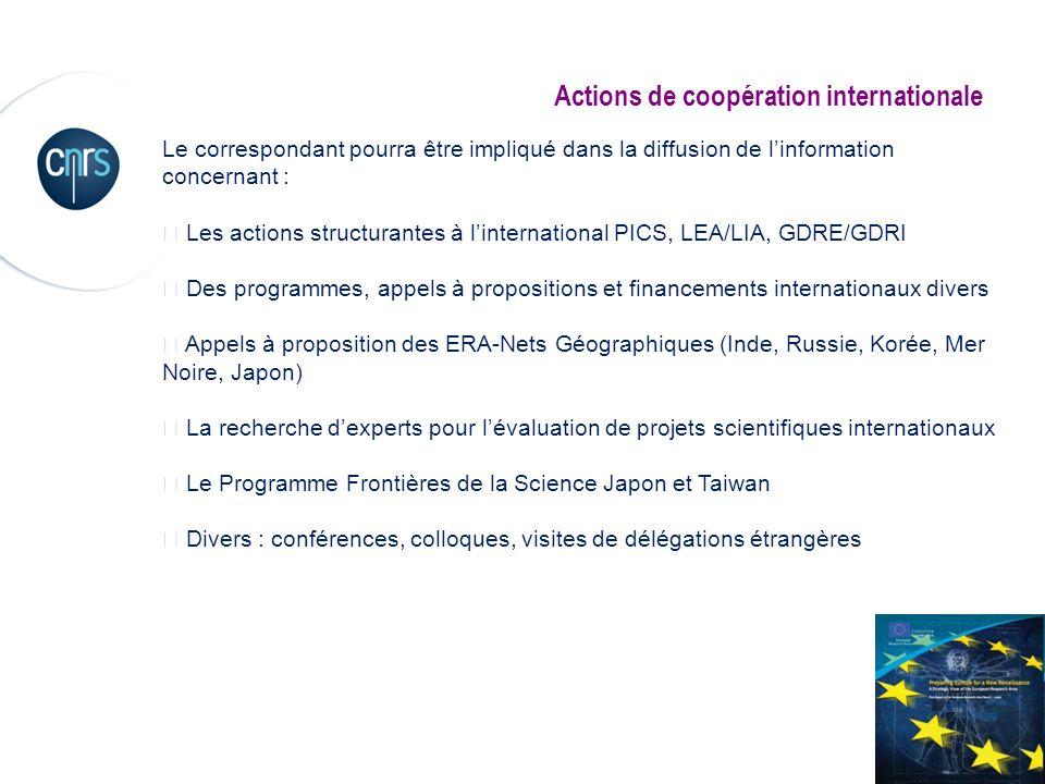 Le correspondant pourra être impliqué dans la diffusion de linformation concernant : Les actions structurantes à linternational PICS, LEA/LIA, GDRE/GD