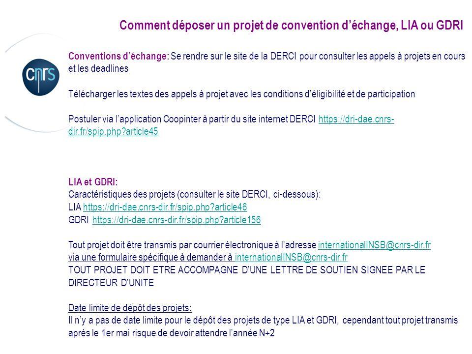 Comment déposer un projet de convention déchange, LIA ou GDRI Conventions déchange: Se rendre sur le site de la DERCI pour consulter les appels à proj