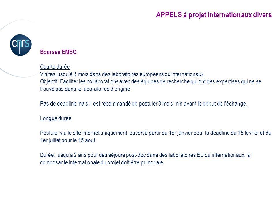 APPELS à projet internationaux divers Bourses EMBO Courte durée Visites jusquà 3 mois dans des laboratoires européens ou internationaux. Objectif: Fac
