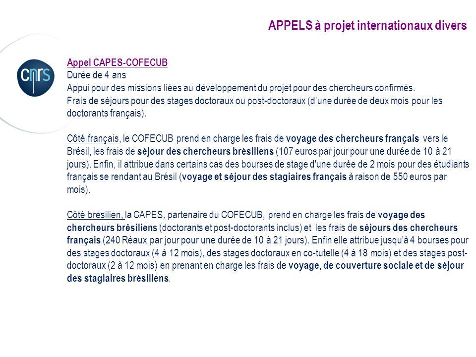 APPELS à projet internationaux divers Appel CAPES-COFECUB Durée de 4 ans Appui pour des missions liées au développement du projet pour des chercheurs