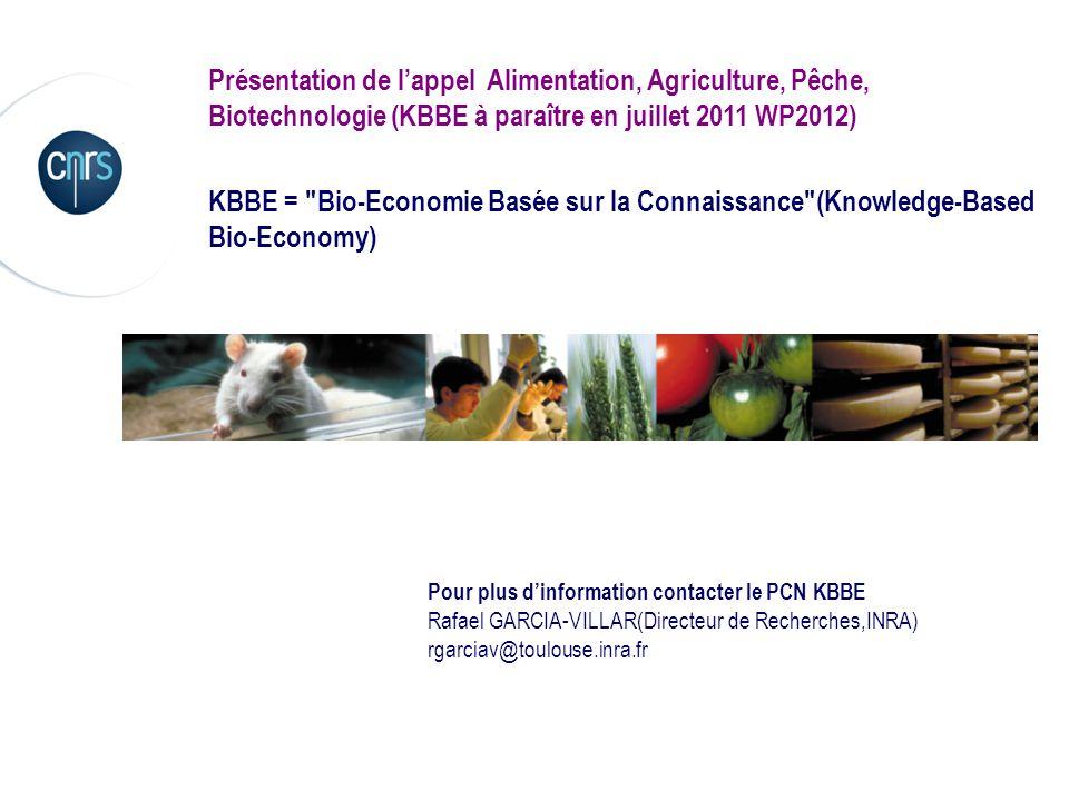 Présentation de lappel Alimentation, Agriculture, Pêche, Biotechnologie (KBBE à paraître en juillet 2011 WP2012) KBBE =