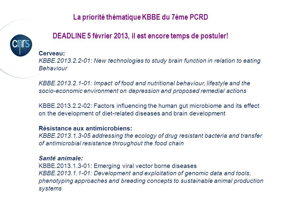 La priorité thématique KBBE du 7ème PCRD DEADLINE 5 février 2013, il est encore temps de postuler! Cerveau: KBBE.2013.2.2-01: New technologies to stud