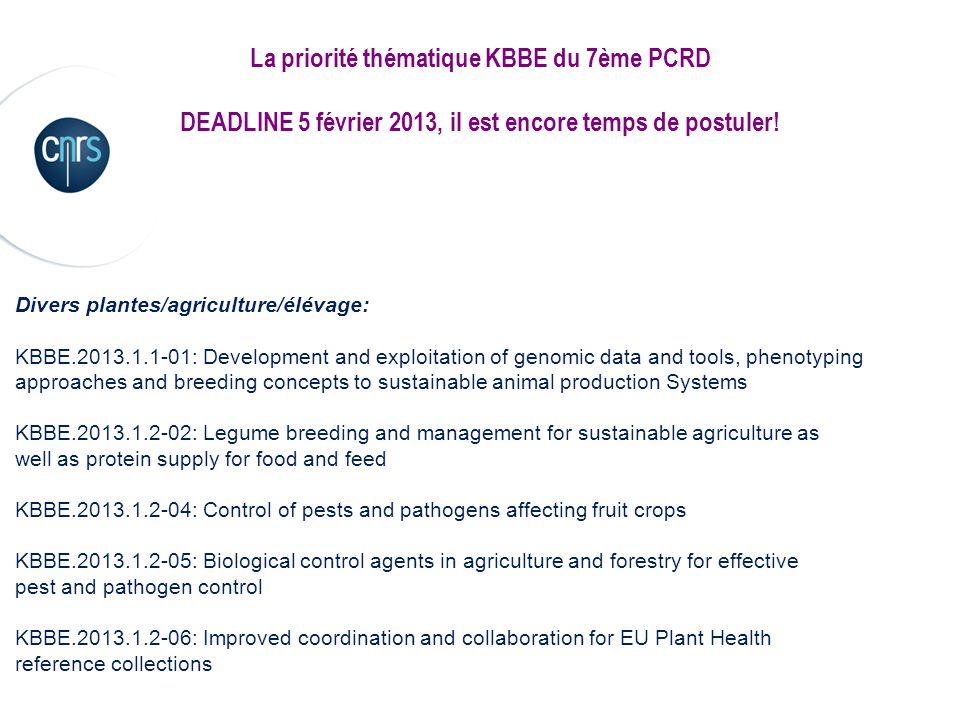 La priorité thématique KBBE du 7ème PCRD DEADLINE 5 février 2013, il est encore temps de postuler! Divers plantes/agriculture/élévage: KBBE.2013.1.1-0