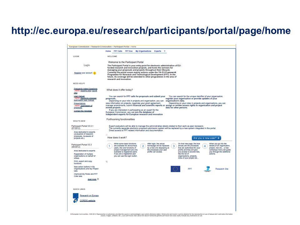 http://ec.europa.eu/research/participants/portal/page/home