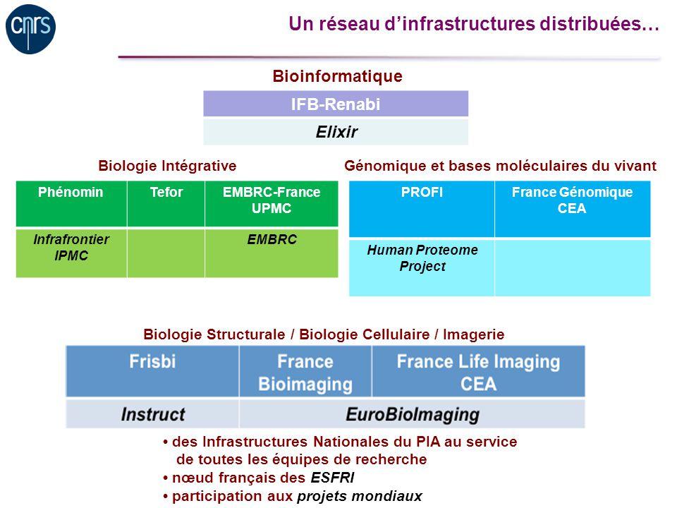 Un réseau dinfrastructures distribuées… PhénominTeforEMBRC-France UPMC Infrafrontier IPMC EMBRC IFB-Renabi Elixir PROFIFrance Génomique CEA Human Prot