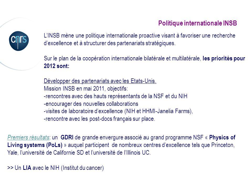 Politique internationale INSB LINSB mène une politique internationale proactive visant à favoriser une recherche dexcellence et à structurer des parte