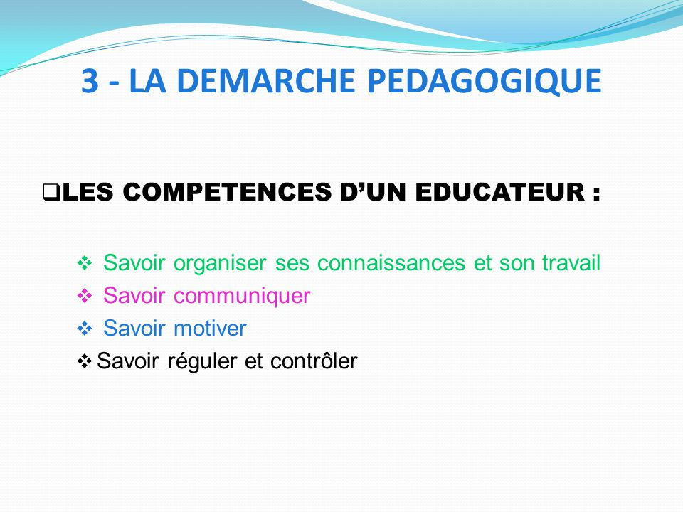 LES COMPETENCES DUN EDUCATEUR : Savoir organiser ses connaissances et son travail Savoir communiquer Savoir motiver Savoir réguler et contrôler 3 - LA DEMARCHE PEDAGOGIQUE
